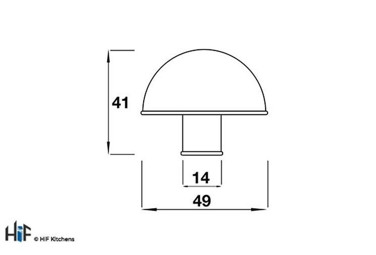 K643.49.PE Kitchen Knob 49mm Diameter Pewter  Image 2