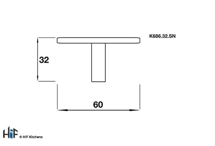 K686.32.SN Kitchen Knob Square 60mm Satin Nickel Effect Image 2