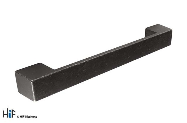 H1115.160.MB Kitchen Square D Handle 160mm Industrial Matt Black Image 1