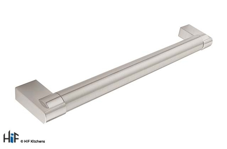 H698.160.SS Bar Handle 18mm Dia  Stainless Steel Effect Image 1