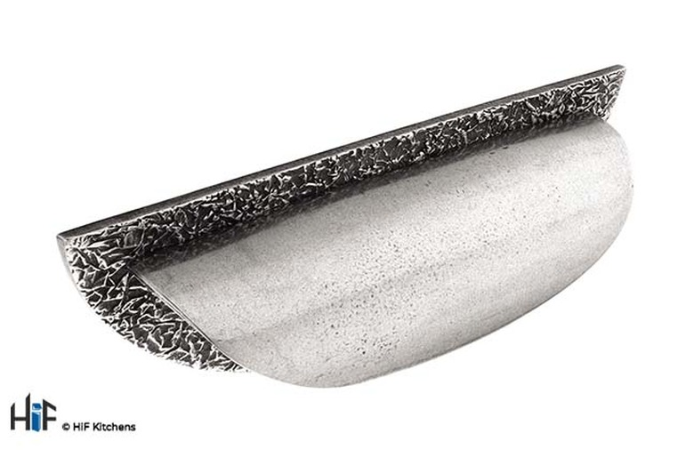 H803.96.PE Kitchen Half Moon Handle Small 96mm Pewter Image 1