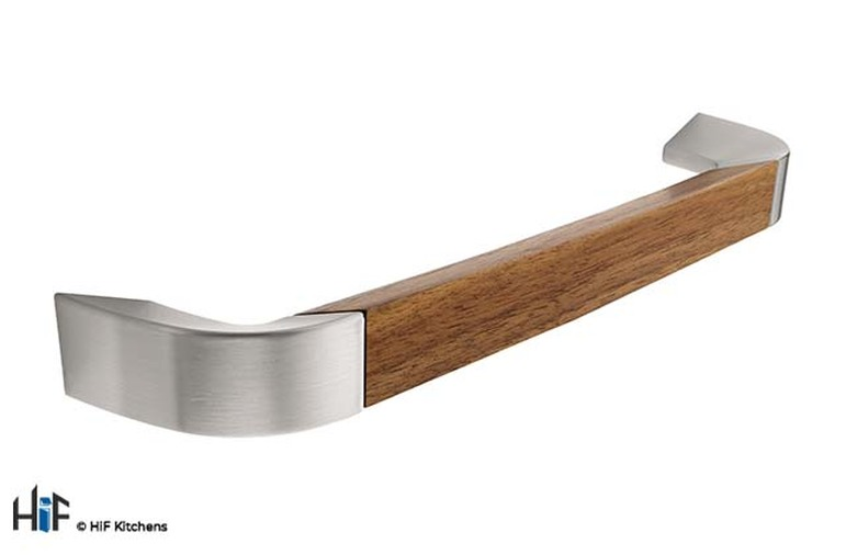 H961.192.SSWA D Handle Walnut And Stainless Steel 192mm Image 1