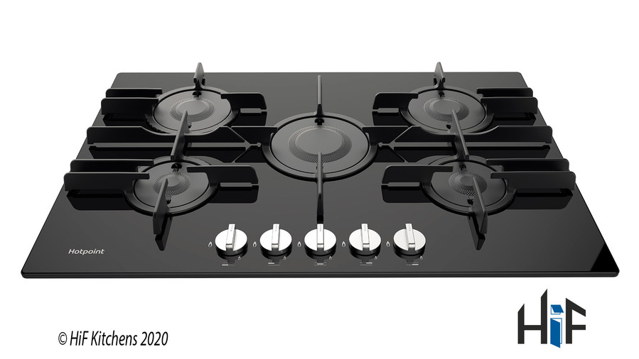 Hotpoint FTGHG751DHBK 75cm Gas On Glass Hob Image 1