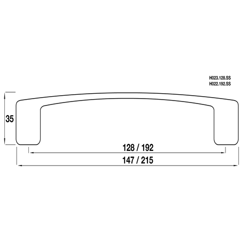 H022.192.SS D Handle 192mm Stainless Steel Effect  Image 2