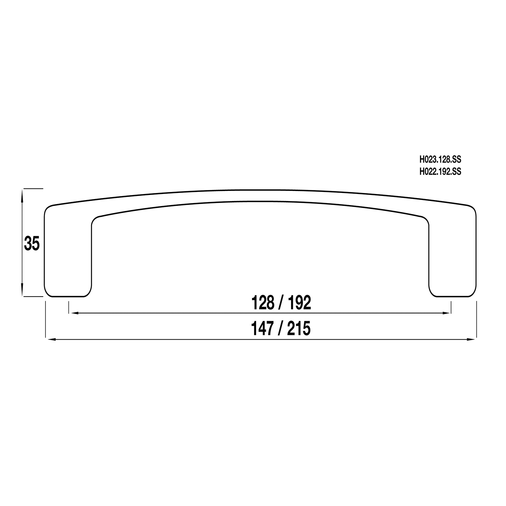 H023.128.SS D Handle 128mm Stainless Steel Effect Image 2