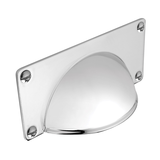 H1079.32.BN Classic Cup Handle With Backplate Solid Brass Nickel Finish Image 1 Thumbnail