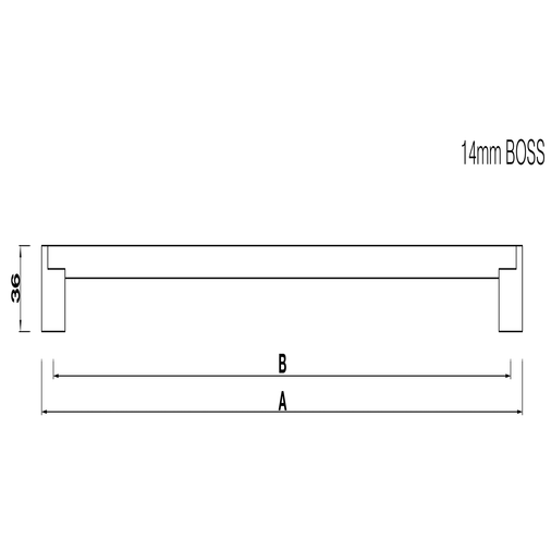 H113.437.SS Boss Bar Handle 14mm Dia Stainless Steel Image 2