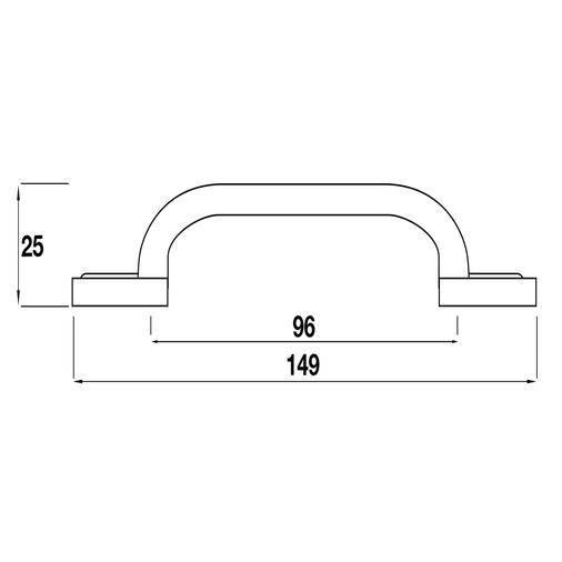 H254.96.AB Kitchen D Handle Clover 96mm Antique Brass Effect Image 2