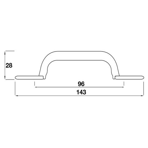 H255.96.PE Kitchen D Handle 96mm Pewter Effect Image 2