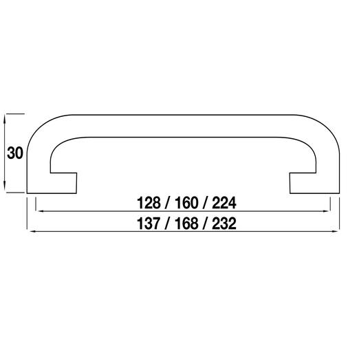 H298.224.C Kitchen D Handle 224mm Die-Cast Bright Chrome Image 2