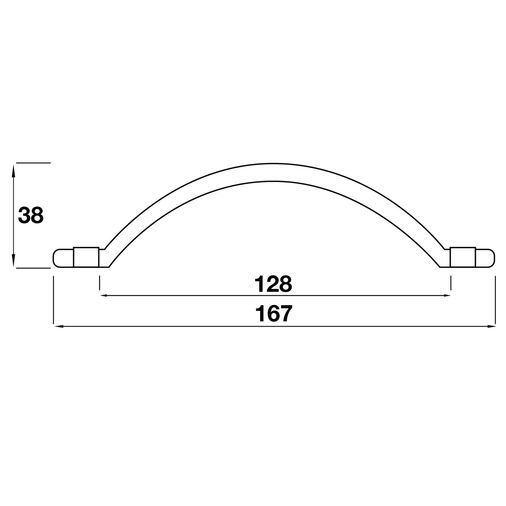 H307.128.PE Kitchen Bow Handle 128mm Pewter Image 2
