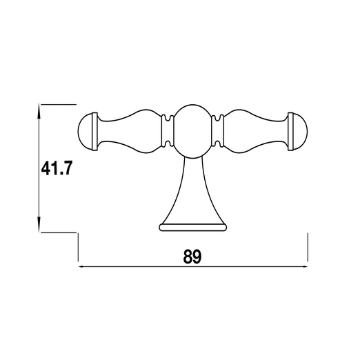 H366.88.CI Kitchen T Bar Handle 88mm Cast Iron Image 2