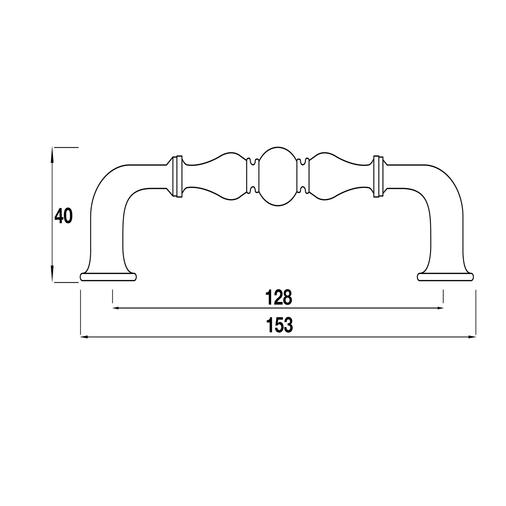 H370.128.CI Kitchen D Handle 128mm Cast Iron Image 2