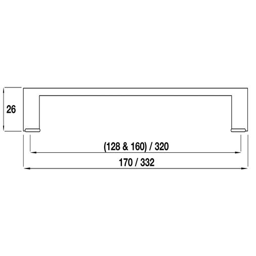 H414.320.CH Kitchen D Handle 320mm Die-Cast Bright Chrome Image 2