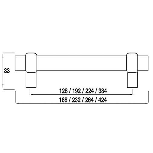 H503.128.BN Kitchen Bar Handle 128mm Bright Nickel Image 2
