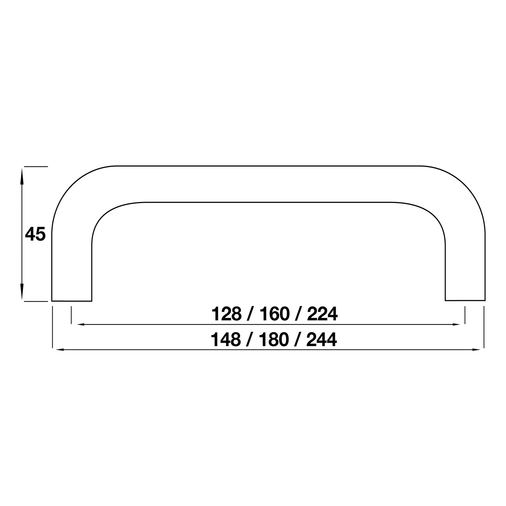 H599.224.SS D Handle 224mm Stainless Steel Effect Image 2