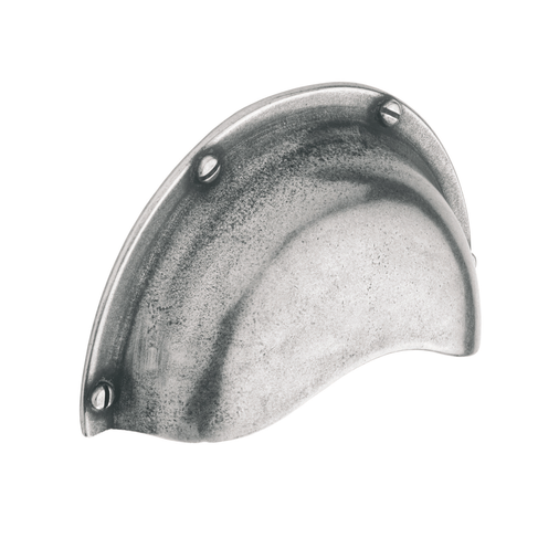 H624.64.PE Cup Handle 64mm C/W Integrated Backplate Pewter Image 1