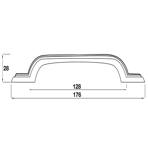 H632.128.PE D Handle 128mm Pewter  Image 2