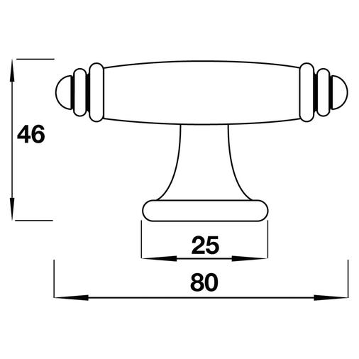 H642.80.PE Kitchen Handle T-Bar 80mm Pewter Image 2
