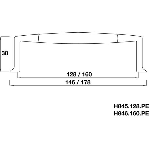 H846.160.PE Kitchen D Handle 160mm Pewter Effect Image 2