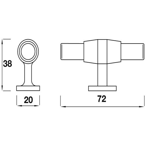 H885.72.CH Kitchen Handle T-Bar Design 72mm Solid Brass Chrome Image 2