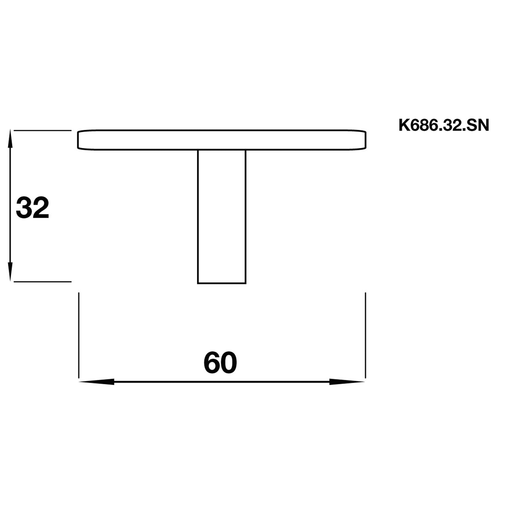 K686.32.SN Kitchen Knob Square 60mm Satin Nickel Effect Image 2