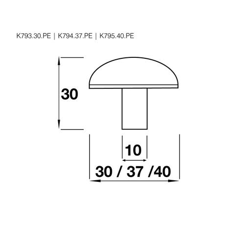 K795.40.PE Mushroom Know Large 40mm Diameter Pewter  Image 2