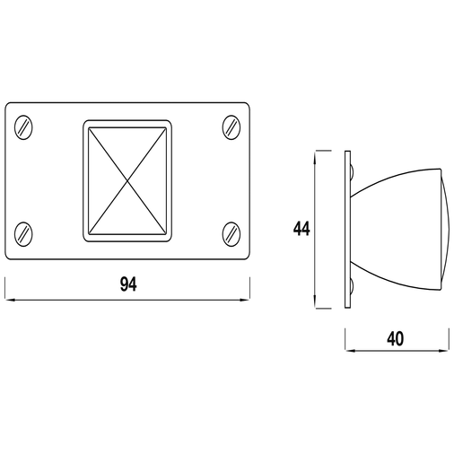 K879.34.CH Knob Square With Rectangular Backplate 34mm Chrome Image 2