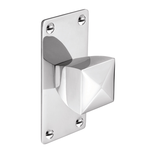 K879.34.CH Knob Square With Rectangular Backplate 34mm Chrome Image 1