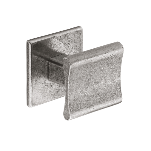 K895.30.PE  Kitchen Knob Square 30mm C/W Backplate Pewter 1909 Image 1