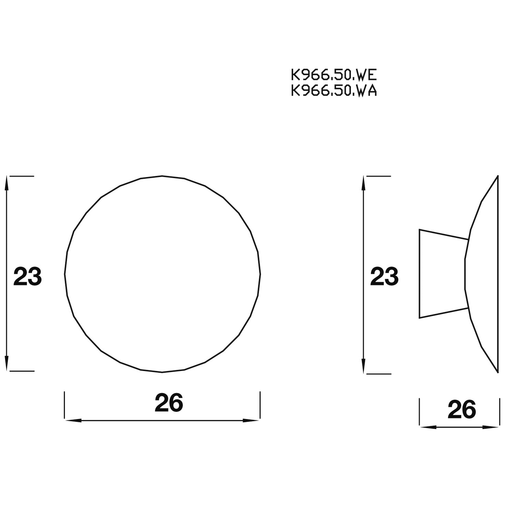 K967.50.WA Knob Concave 50mm Diameter Walnut Image 2