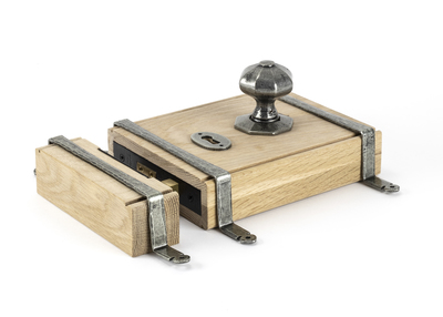 View Pewter Oak Box Lock & Octagonal Knob Set offered by HiF Kitchens