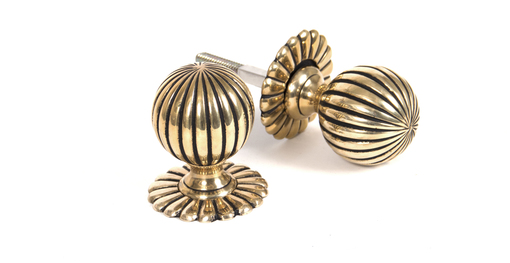 View Aged Brass Flower Mortice/Rim Knob Set offered by HiF Kitchens