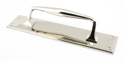 View Polished Nickel 300mm Art Deco Pull Handle on Backplate offered by HiF Kitchens