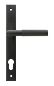 View Matt Black Brompton Slimline Lever Espag. Lock Set offered by HiF Kitchens