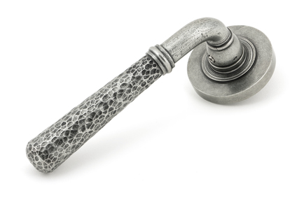 View Pewter Hammered Newbury Lever on Rose Set (Plain) offered by HiF Kitchens