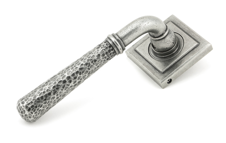 View Pewter Hammered Newbury Lever on Rose Set (Square) offered by HiF Kitchens