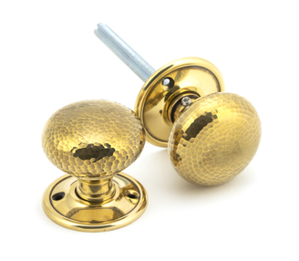 View Aged Brass Hammered Mushroom Mortice/Rim Knob Set offered by HiF Kitchens