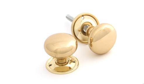 View Polished Brass Mushroom Mortice/Rim Knob Set offered by HiF Kitchens