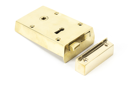 View Polished Brass Left Hand Rim Lock - Small offered by HiF Kitchens