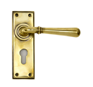 View Aged Brass Newbury Lever Euro Set offered by HiF Kitchens