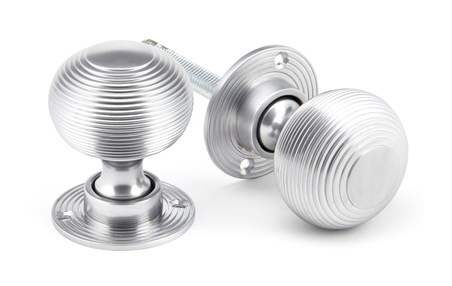 View Satin Chrome Heavy Beehive Mortice/Rim Knob Set offered by HiF Kitchens
