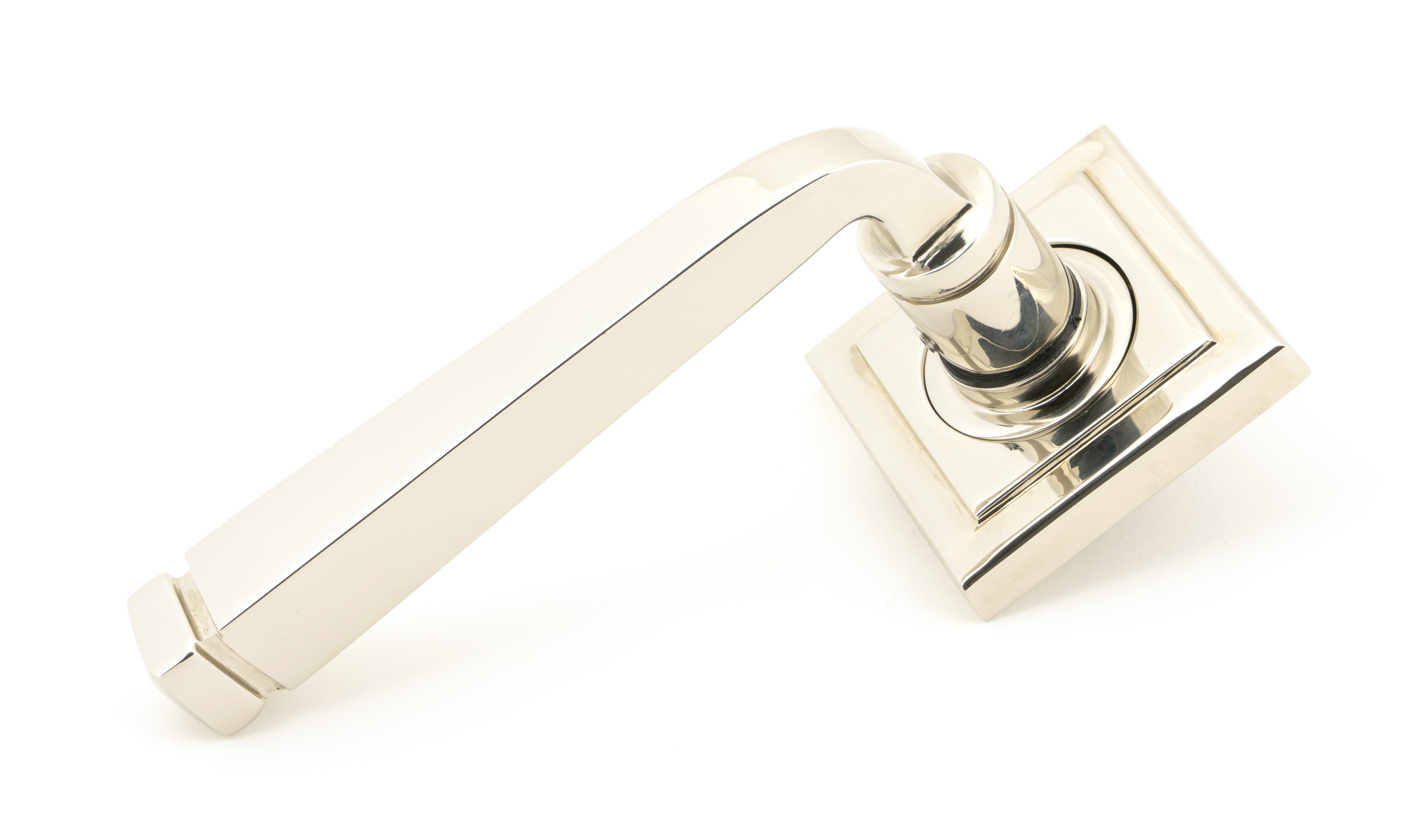 View Polished Nickel Avon Round Lever on Rose Set (Square) offered by HiF Kitchens