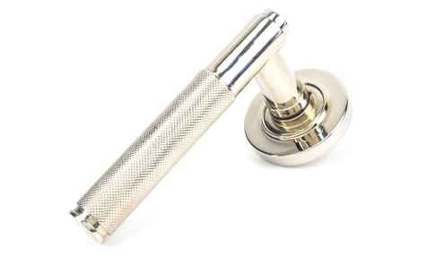 View Polished Nickel Brompton Lever on Rose Set (Plain) offered by HiF Kitchens