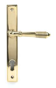 View Polished Brass Reeded Slimline Lever Espag. Lock Set offered by HiF Kitchens