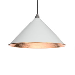 Added From The Anvil Light Grey Hammered Copper Hockley Pendant 49503LG To Basket