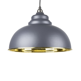 View From The Anvil Dark Grey Hammered Brass Harborne Pendant 49521DG offered by HiF Kitchens