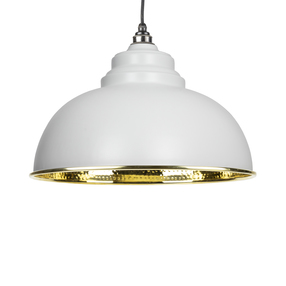 View From The Anvil Light Grey Hammered Brass Harborne Pendant 49521LG offered by HiF Kitchens
