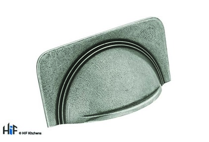View H1112.64.PE Cup Handle With Stepped Detail On Plain Backplate offered by HiF Kitchens
