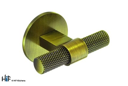 View H1125.35B383AGB Knurled T-Bar Handle on Circular Backplate Aged Brass offered by HiF Kitchens